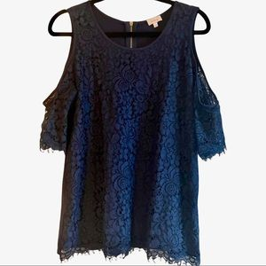 Pixley Cold Shoulder Mixed Material Lace Navy Top
